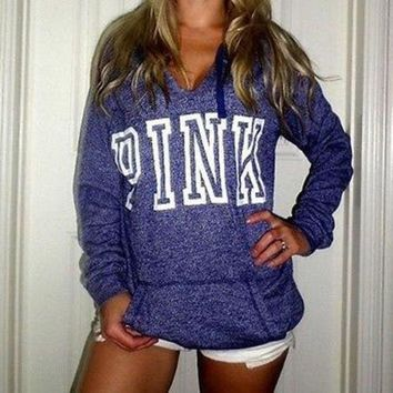 PINK Victoria's Secret Casual Letter Print Hoodie Sweatshirt Top Sweater
