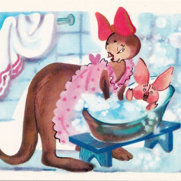 Postcard Illustration by Sorokina (A. A. Milne - Winnie-the-Pooh) no.12 - 1976. Fine Arts, Moscow