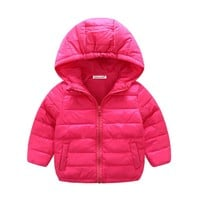 Spring Autumn Winter Baby girls Clothes Cute Baby Outerwear Infant Coat Solid Hooed Warm Coat 0-24 month