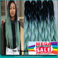 "10Packs Free Shipping 24"" 100g Black&Mint/Dull Green Ombre Two Tone Kanekalon Jumbo Box Braiding Synthetic Dreadlocks Hair"