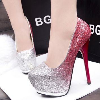 Fine heel club high heels
