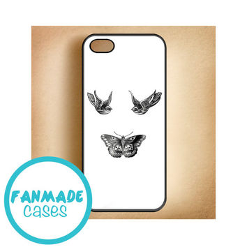 Birds and butterfly tattoos iPhone 4/4s 5/5s/5c & iPod 4/5 Rubber Case