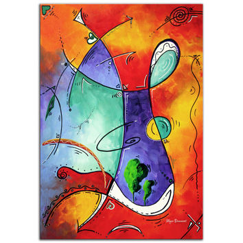 Colorful Abstract Painting 'Free at Last' Modern Wall Art, Funky 1980s Artwork, Contemporary Blue/Orange Metal Giclee by Megan Duncanson