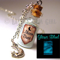 Moon Dust Glow in the Dark  Medium Glass Bottle by LittleGemGirl