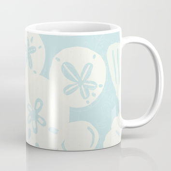 Cream Seashells on Aqua Mug by Noonday Design