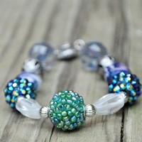 Bracelet blue and green bracelet with silver accents