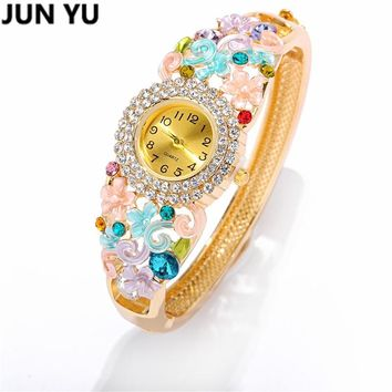 JUNYU Folk Style Gold  Handcrafted Cloisonne Butterfly Bangle Bracelet Quartz Wristwatch Crystal Round Dial  Watches 6 Color