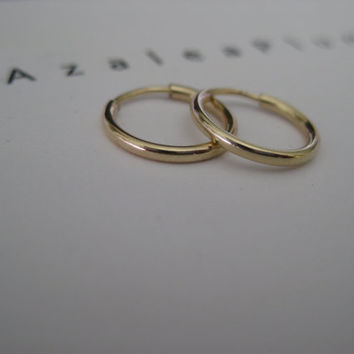 14k Solid Gold Hoop Earrings. Dainty Mini Hoop Earrings.  Delicate Skinny Gold Hoops. Dainty Hoops. Timeless Earrings - 14k Solid Gold Hoops