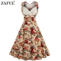 ZAFUL 2017 Vintage Women Dress Feminino Vestidos High Waist Robe Female Rockabilly Sleeveless Print Midi Retro Dresses Plus Size