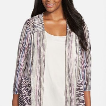 Plus Size Women's NIC+ZOE 'Crossroads' Linen Blend Open Front Cardigan,