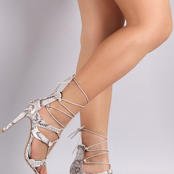 Python Strappy Lace-Up Stiletto Heel