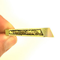 Vintage Tie Clip Black and Gold Men's Tie Bar for Father's Day