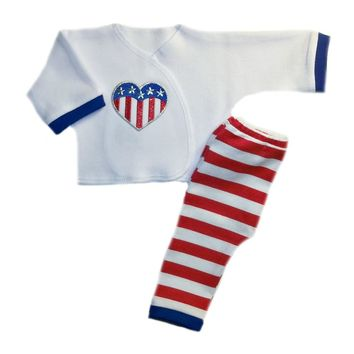 USA Stripes and Heart Unisex Baby Outfit