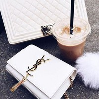 YSL 2018 Women's Fashion High Quality Leather Metal Chain Messenger Bag F white