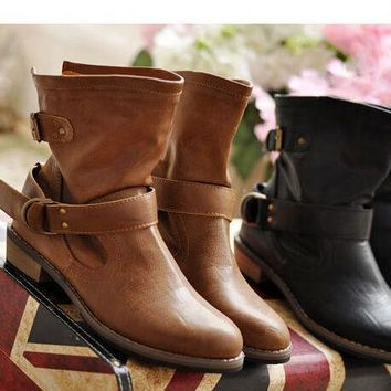 Women's Vintage Leather Ankle Boots