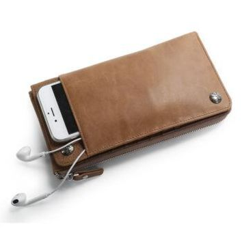 Slim Wallet with Slots Multifunctional Genuine Leather Men Wallets Coin Pocket Zipper Mobile Phone Bag Women Wallet Long