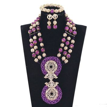 Purple Coral Bead African Wedding Jewelry Set - Free Shipping
