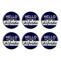 Alfredo Hello My Name Is Plastic Resin Button Set of 6