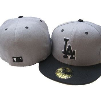 PEAPON Los Angeles Dodgers New Era MLB Authentic Collection 59FIFTY Cap Grey-Black LA