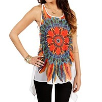 White Feather Floral Sleeveless Tank