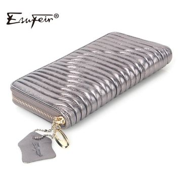 ESUFEIR Genuine Leather Women Wallet High Quality Sheepskin Standard Wallet Long Clutch Fashion Multiple Cards Holder Wallet Bag