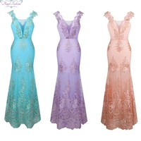 Angel-fashions Women's V Neck Embroidery Lace Flower Mermaid Long Wedding Dress Pink 310