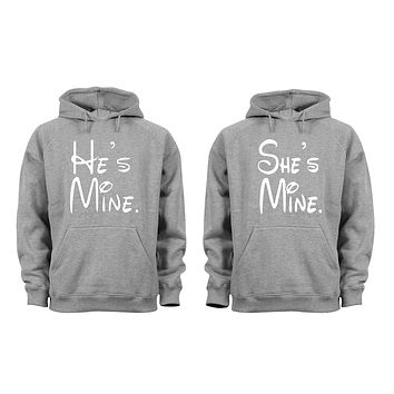 XtraFly Apparel She's He's Mine Valentine's Matching Couples Hooded-Sweatshirt Pullover Hoodie
