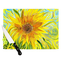 """Catherine Holcombe """"Sunflower Symphony"""" Yellow Green Cutting Board"""