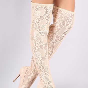 Floral Lace Pointy Toe Stiletto Over-The-Knee Boots