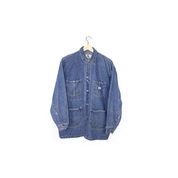 CALVIN KLEIN denim chore coat - vintage 90s - denim barn jacket - ck logo - workwear
