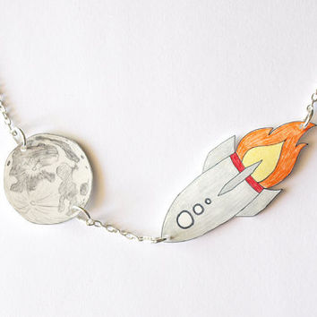 Rocket To The Moon Hand Drawn Necklace - Made To Order