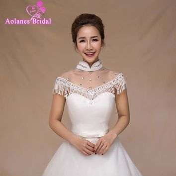 High Quality White Shoulder Chain Bead Crystals High Neck Tasslls Bridal Wedding Bolero Jacket Wedding Lace Shrug Cape Shawl