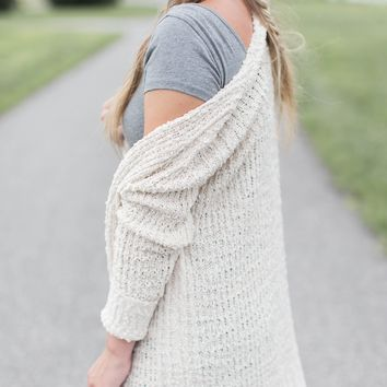 Chenille Ribbed Cardigan, Ivory