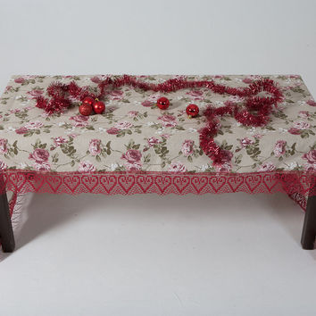 Pure linen tablecloth with rose pattern by myCraftFactory on Etsy