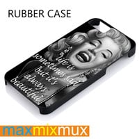Marilyn Monroe With Tattoo Quotes iPhone 4/4S, 5/5S, 5C, 6/6 Plus Series Rubber Case