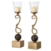 Attila Coffee Bronze Candleholders, Set of 2 by Uttermost