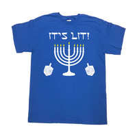 Funny Hanukkah Shirt Jewish T Shirt Chanukah Gifts For Hanukkah Menorah TShirt Holiday Present Dreidel Hebrew It's Lit Mens Ladies Tee-SA692
