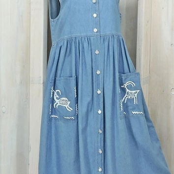 Denim summer dress / size M / loose fit chambray jumper / boho / prairie dress