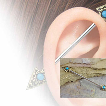 Tribal Turquoise Gold Arrow Industrial Barbell Scaffold Piercing