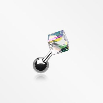 Prism Cube Cartilage Tragus Barbell