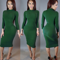 High Neck Long Sleeves Bodycon Pure Color Party ClubDress