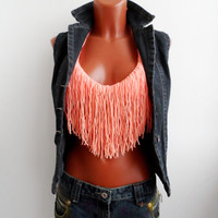 Festival Halter Crop Top Fringes Top Fringes Peach Color Top Halter Tank Backless Music Top Retro Corset Bandeau Bustier Music Bikini Hippie