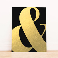 Printable Art Typography Gold Foil Ampersand Art for Office or Decor Home Decor