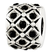 Reflection Beads Sterling Silver Black Crystal Bead (11 x 8 mm)