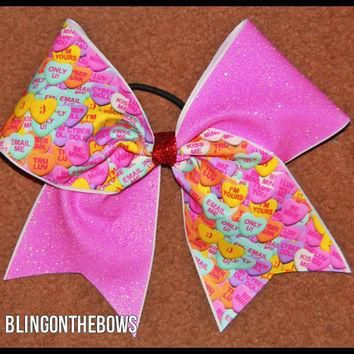 conversation hearts cheer bow