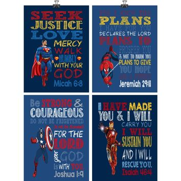 Clearance Christian Superhero Nursery Decor Art Print Set of 4 - Captain America, Hulk, Ironman and Spiderman - 10x13