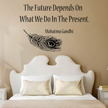 Family Wall Decals Quotes Future Depends On What We Do In The Present Feather Vinyl Sticker Home Design Words Art Mural Bedroom Decor KG815