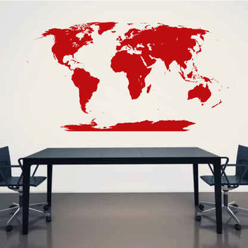 World Map Vinyl Wall Decal Sticker Graphic