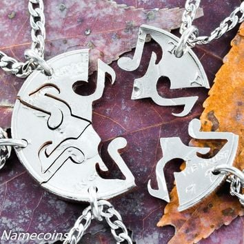 Music Note Jewelry, 5 Piece Interlocking Set cut from a Half Dollar by Namecoins