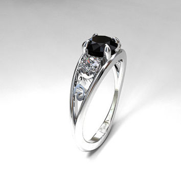 Black spinel and 0.50ct Diamond filigree ring, white gold, engagement ring, trinity ring, black engagement, diamond wedding, unique, spinel